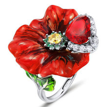 Engagement Silver 925 Red Flower Rings for Women Fashion Heart AAA+ Cubic Zirconia 2019 New Arrivals Dropshipping