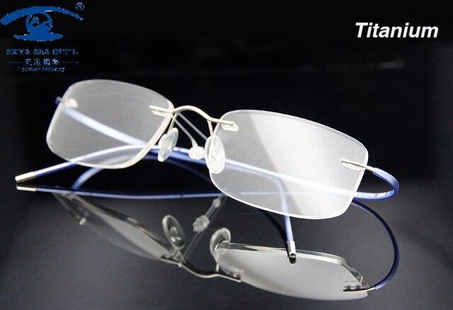 9bba04a1f39 Donne Degli Uomini Ultra-luce Memoria Titanio Occhiali Senza Montatura Per  Occhiali Ottica Telaio Occhiali