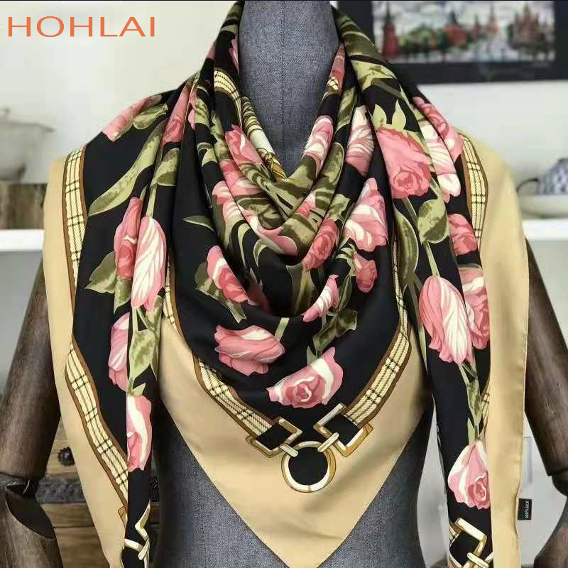 130*130cm Square Scarves For Women Foulard 2018 New Design Floral Bandana Luxury Brand Silk Scarf Woman's Scarves Shawls Stoles