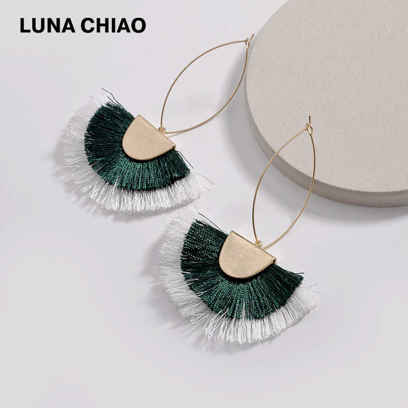 LUNA CHIAO 2018 Trendy Double Layer Mix Color Block Fringed Tassel Drop Earrings for Women