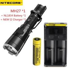 Rechargeable Multitask Flashlight NITECORE MH27 max.1000LM beam distance 462meter Torch + NEW I2 charger + 18650 3500mAh battery