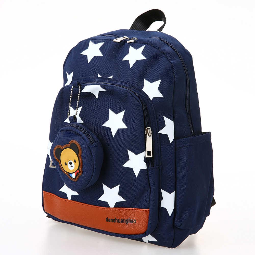 Teste Padrão de Estrela da lona Bonito Mochilas Escolares Crianças Mochila de Viagem Mochila Escolar do jardim de Infância Brinquedos wth Coin Purse 4 Cores