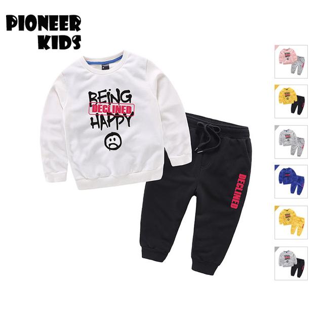 2-11y pioneer niños 2017 nueva primavera ropa de bebé establece historieta de los muchachos suéter pantalones de lana del niño del muchacho y de la muchacha ropa ropa conjunto