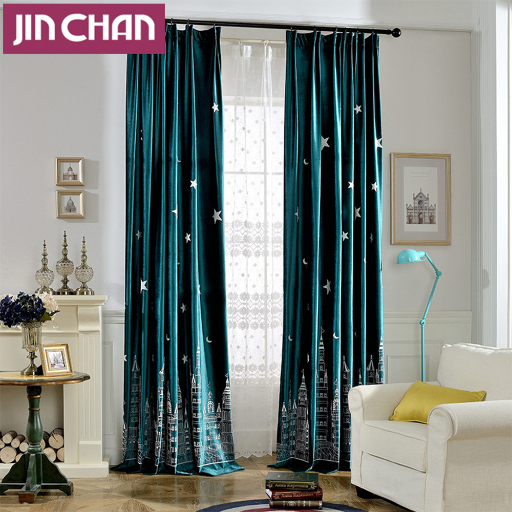 Victorian velvet curtains - Castle Pattern Embroidered Blackout Window Curtains For Living Room Drapes For Kids Childern Bedroom Customized