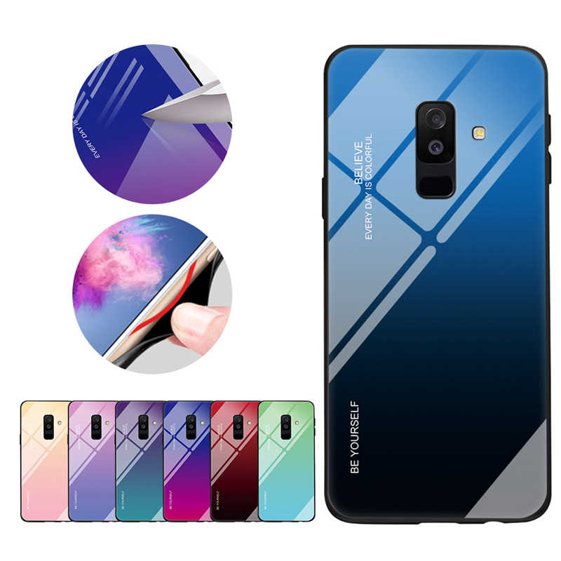 Gradient Tempered Glass Case For Samsung Galaxy A7 2018 A750 A5 2017 A6 A8 J4 J6 Plus J8 2018 Shockproof Cover Armor Fundas