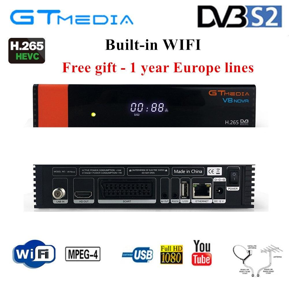 V8 Nova décodeur avec 1 an Cline pour l'europe Freesat GTMedia mise à niveau V8 Super Full HD DVB-S2 récepteur de télévision par Satellite wifi intégré