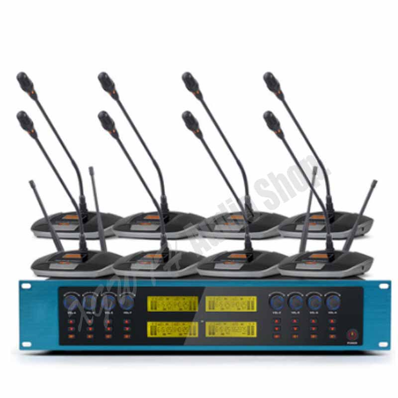 UHF Adjustable Frequency Radio Wireless Microphone System Desk Tabletop Gooseneck Conference Microphone for Meeting Room