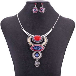Image 3 - MS1505054 Vintage Jewelry Sets Blue Red Color Antique Silver Plated High Quality Necklace Earrings Set Tibet Design