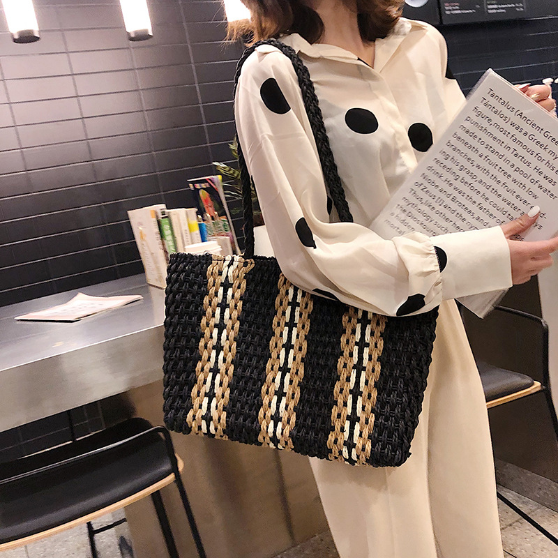 Vertical Stripes Straw Rattan Bag Handbags Large Capacity Fashion Lazy Shoulder Crossbody Woven Bags for Women Casual Beach Bag in Top Handle Bags from Luggage Bags