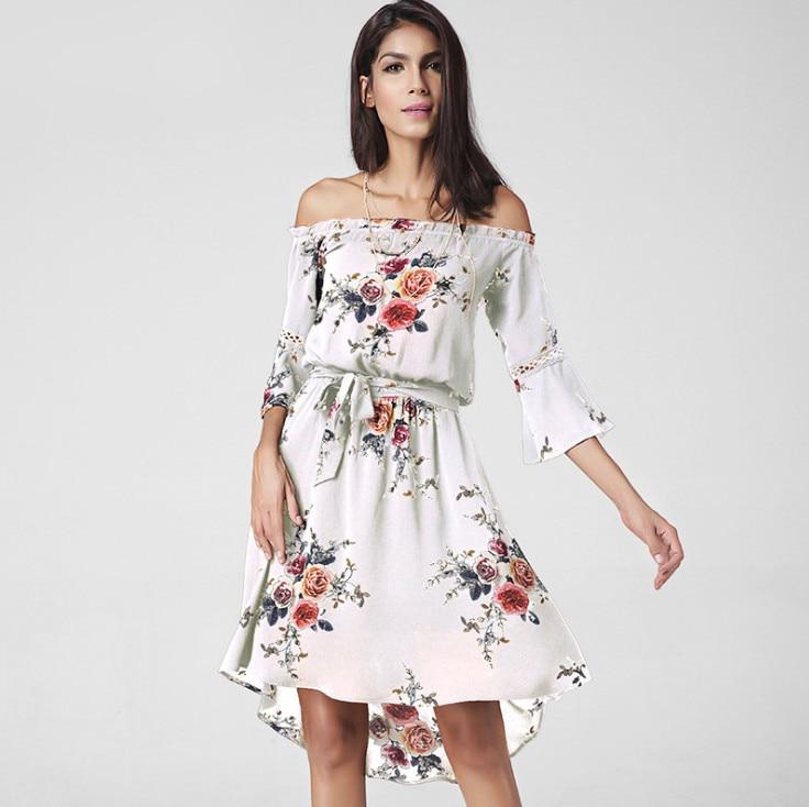 Womens Boho dress summer flare Sleeve Irregular Hem Dress knee length Floral print clothing ouc619 in Dresses from Women 39 s Clothing