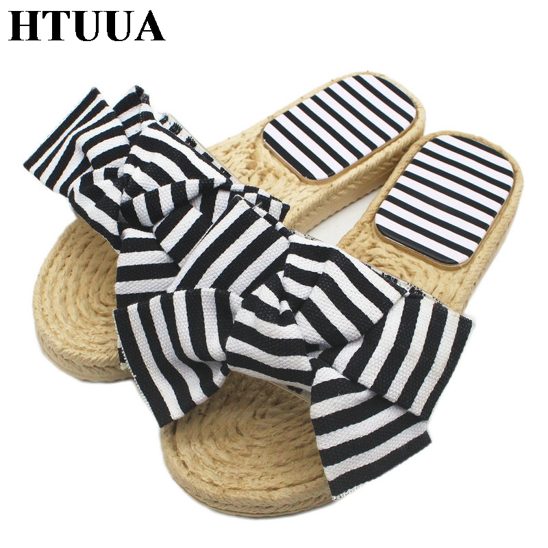 3703f04c5d8 HTUUA 2018 New Big Bow Slippers Women Summer Shoes Striped Grass Weave Flat  Sandals Beach Flip Flops Shoes Home Slides SX1086-in Slippers from Shoes ...