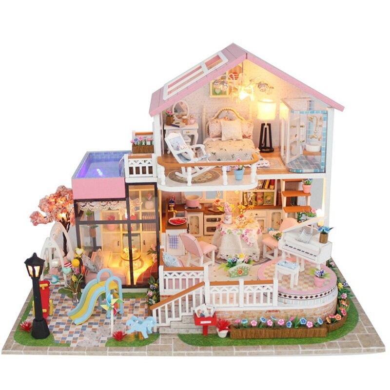 Luxe doux Villa meubles maison de poupée Miniature kit de bricolage télécommande Led lumières en bois jouet poupées maison cadeau de noël