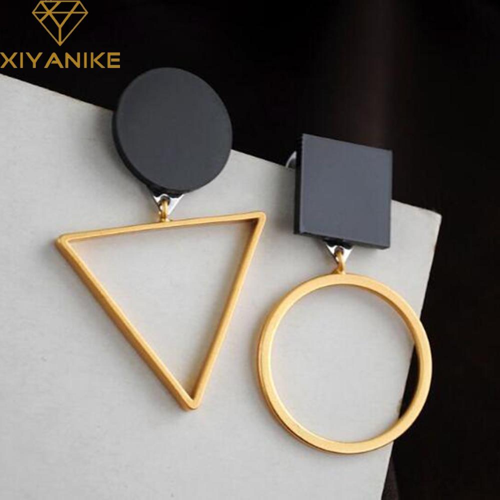 Xiyanike бренд панк Треугольники Круглый Геометрические Асимметричная Черный Серьги Для женщин партии ювелирные Pendientes Brincos E130