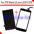 Black 100% New LCD DIsplay + Touch Screen Digitizer Replacement For ZTE Blade L2 plus / Blade L370 / Blade C370 Free shipping