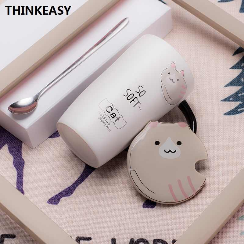 OUSSIRRO Cute Ceramic Cup Cartoon Mug Creative Glass Large Capacity Milk Cup Couple Present Coffee Cup Gift Box