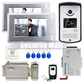 "Chuangksafe . 7"" TFT Video Intercom Door Phone System 2 Monitors + RFID Access Door Camera + Electric Control Door Lock"