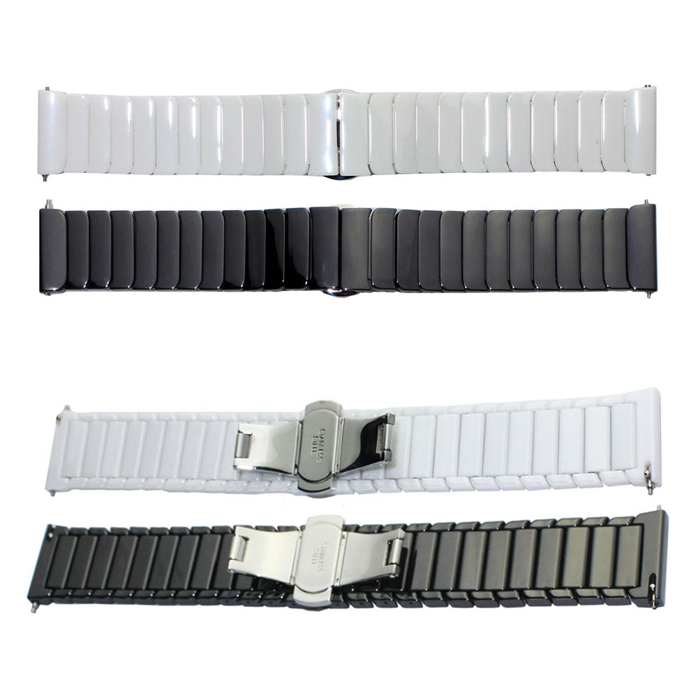цена на Luxury Butterfly Buckle Ceramic Strap Wristbands For Xiaomi Huami Amazfit A160 Band 22mm Replacement Watchbands with Pins
