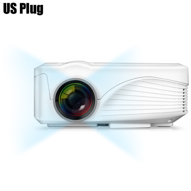 White New Upgrade Real three glasses lens High performance LCD Handheld 3D home cinema projector Native 800x480 Support 1080