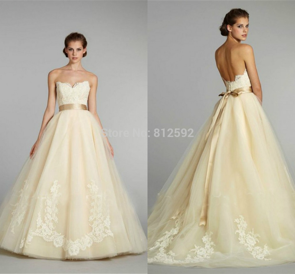 Free Shipping 2017 Strapless Lace Lique Bodice Pale Yellow Tulle With Gold Sash A Line Bridal Gown Wedding Dresses In From Weddings