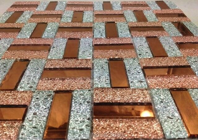 Mattonelle di mosaico di vetro backsplash viola e oro mix specchio