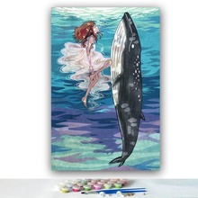 DIY colorings pictures by numbers with colors Girl and dolphins ocean picture drawing painting  framed Home
