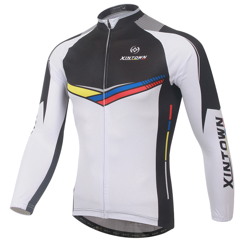 XINTOWN Spring Long Sleeve Cycling Jersey Black White Specialized Men Cycling Clothing Outdoor Sport Riding Maillot Bike Fitness