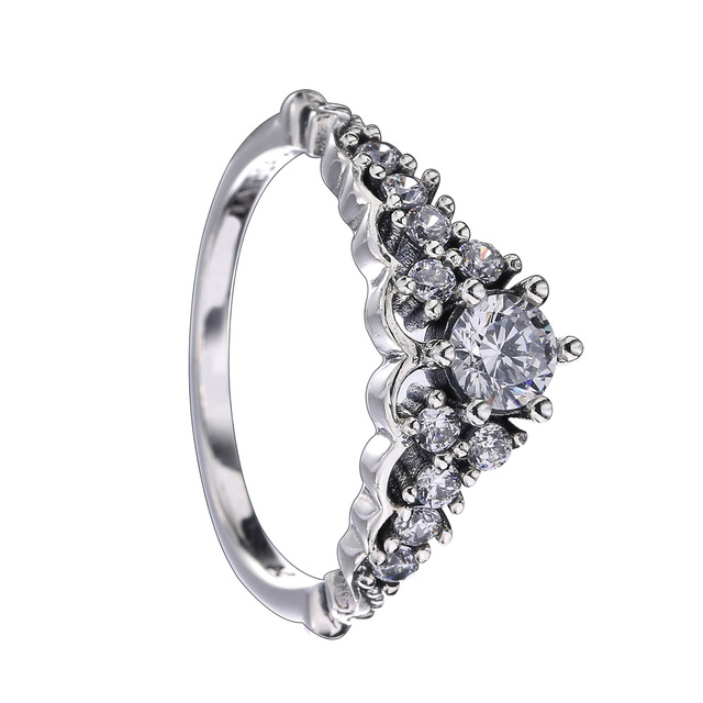 1e6bb7452 Authentic 925 Sterling Silver Pandora Ring Fairytale Tiara With Crystal  Rings For Women Wedding Gift Jewelry