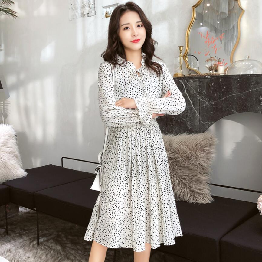 Soie Floral Plissée Robes Vestiods À Imprimé Manches 2019 Style Aq5R4j3LcS