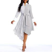 Polka Dot Vintage Dress Women Asymmetric Hem White Elegant Sweet Spring New Street Casual Stylish Slim Black Chic Midi Dresses