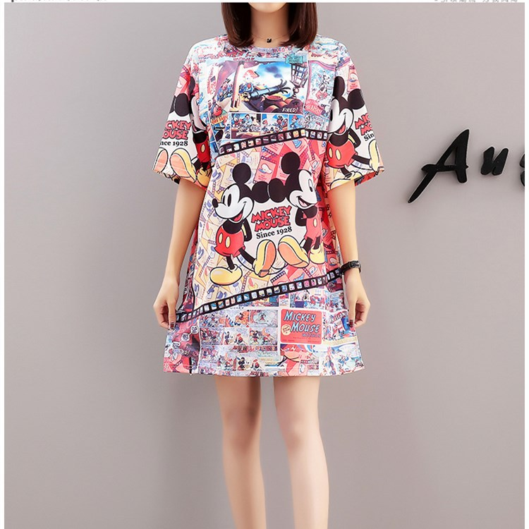 Mickey Mous Dress Summer Dress 0 Collar Neck Short Sleeve Casual Cartoon Short Loose Dress Vestidos Verano 2018 Party Dress Women's Clothing
