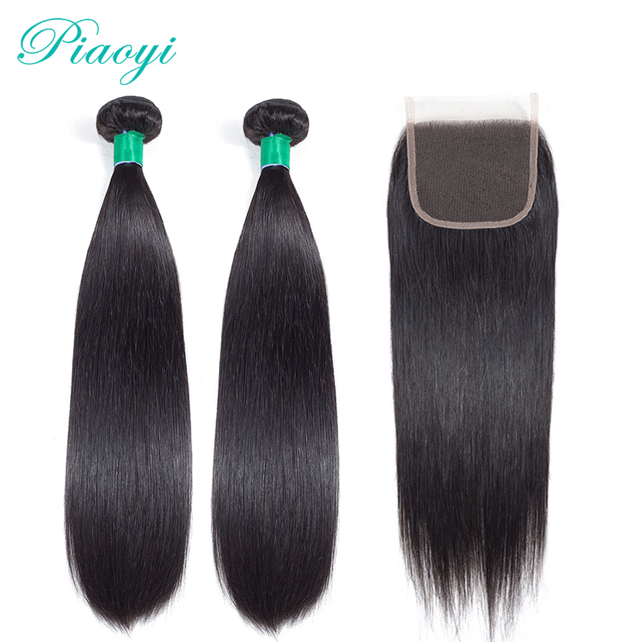 Piaoyi Hair 2 Bundles With Closure Non-Remy Human Hair Bundles With Closure Brazilian Straight Human Hair Weave