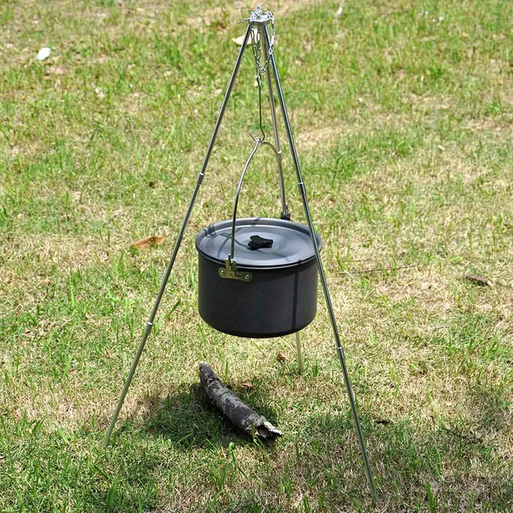Campfire Pot Holder Picnic Cast Outdoor Camping Tripod Cooking High Quality T5B7