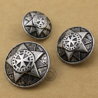 25mm 10pcs Lot Free Shipping Retro Antique Silver Color Button Metal Buckle Clothes Accessary
