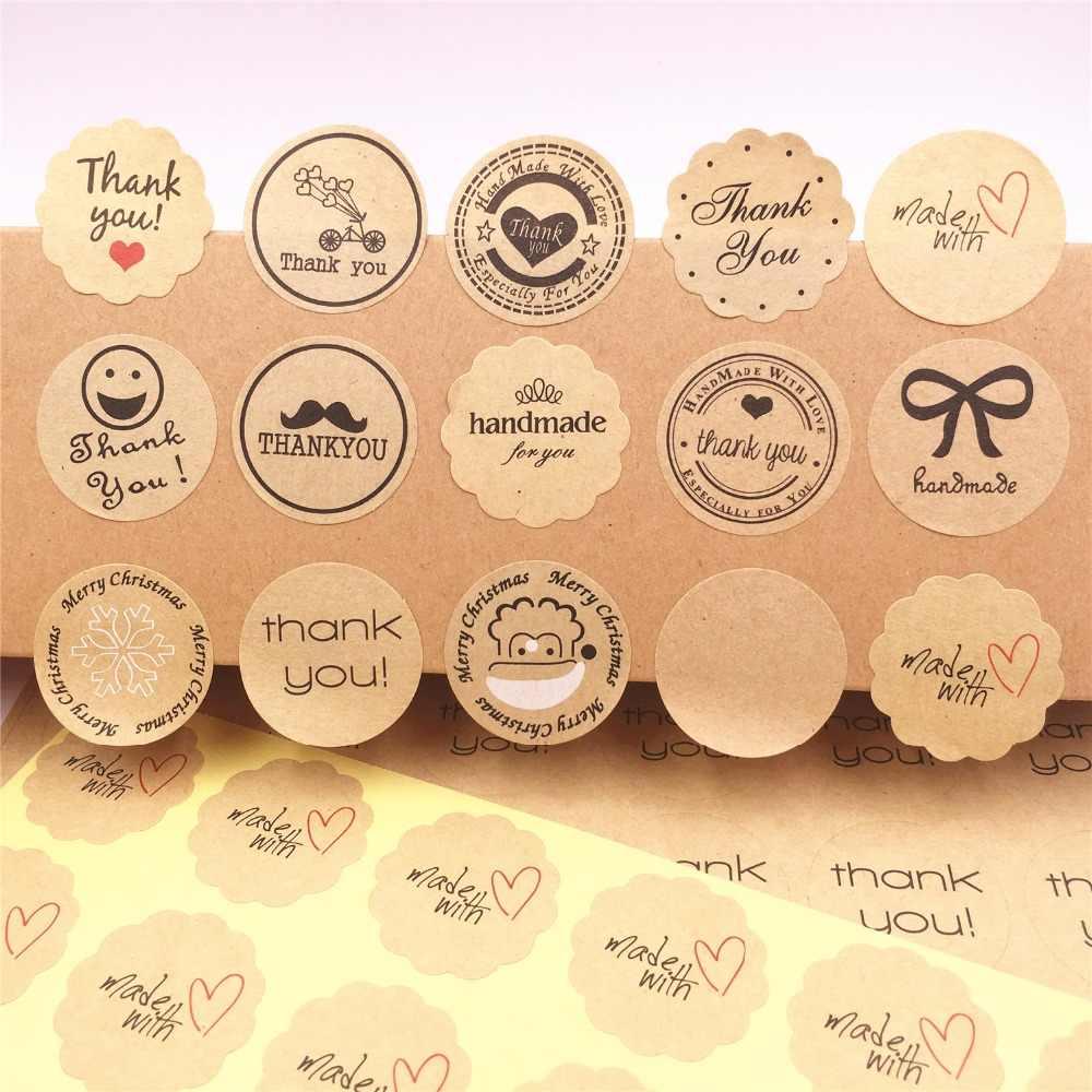 100 Pcs, obrigado Amor Etiquetas Auto-adesivas Kraft Etiqueta Da Etiqueta Diâmetro 3 cm Para Diy Feito À Mão Bolo de Presente De Papel Doces Tags
