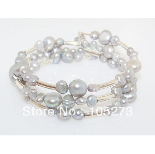 Wholesale Mother's Day Gift Jewelry Fashion Sterling 925 Silver Light Gray Pearl Bead Wrap Retired Bracelet New Free Shipping