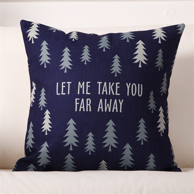 Nordic Style Merry Christmas Tree Elk Deer Print Cushion Cover Pillow Case Decorative Pillows For Sofa Couch Car Seat Beds