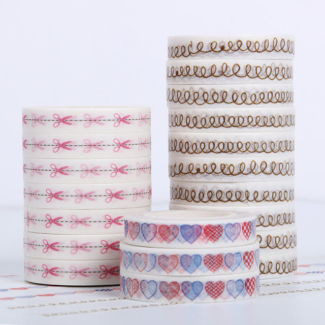10 PCS DIY Washi Paper Tape 8mmx10m Decorative Masking Tapes Scrapbooking Office Stationery Self Adhesive Tape