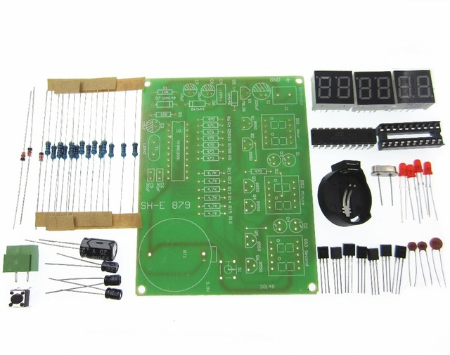10 Uds DIY Kits AT89C2051 reloj electrónico Digital tubo de visualización LED Suite piezas de módulo electrónico y componentes DC 9 V 12 V