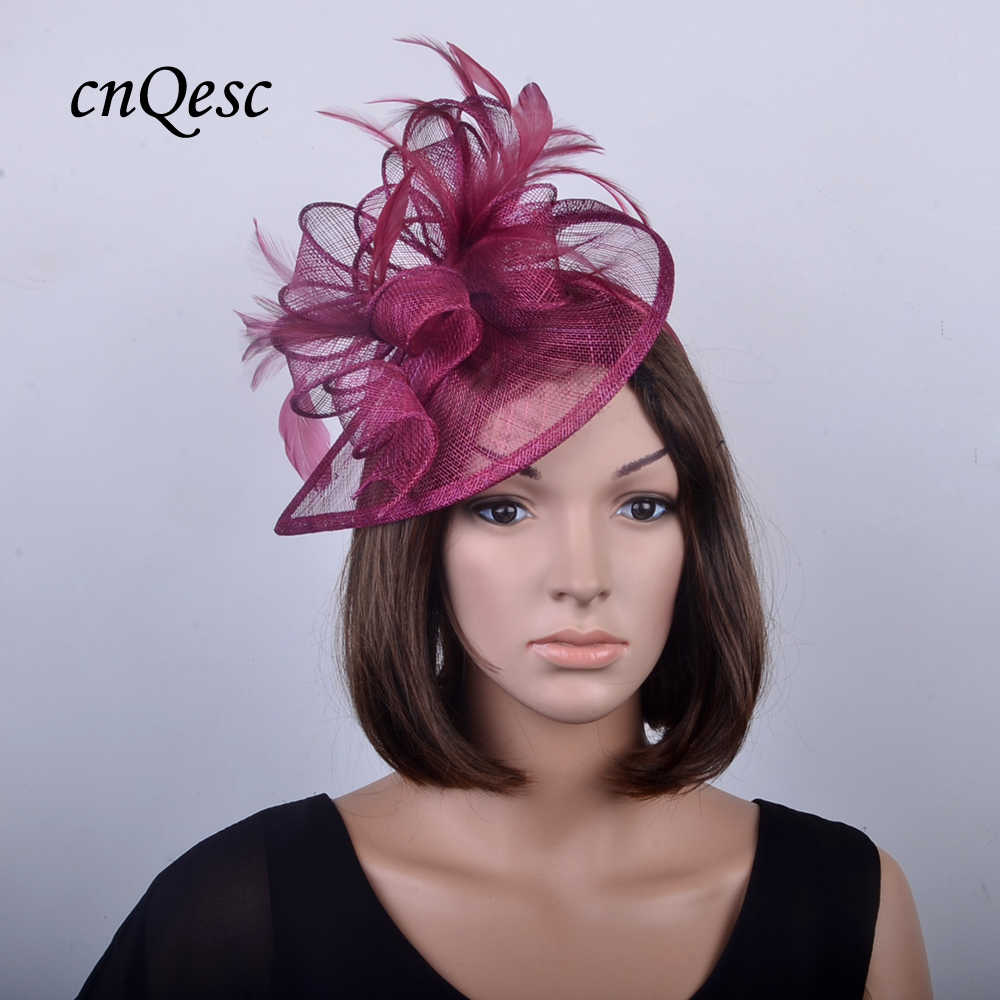 b8316cea ... NEW Burgundy wine HOT Sinamay Fascinator Hat bridal accessories for  Wedding,Kentucky Derby,Ascot ...