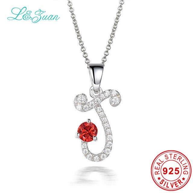 L & цзуань S925 Серебро 6 Цвет Рубина Шарм Колье Кулон Письмо J Красный Камень Ожерелья Изящных Ювелирных Изделий для Женщин девушка