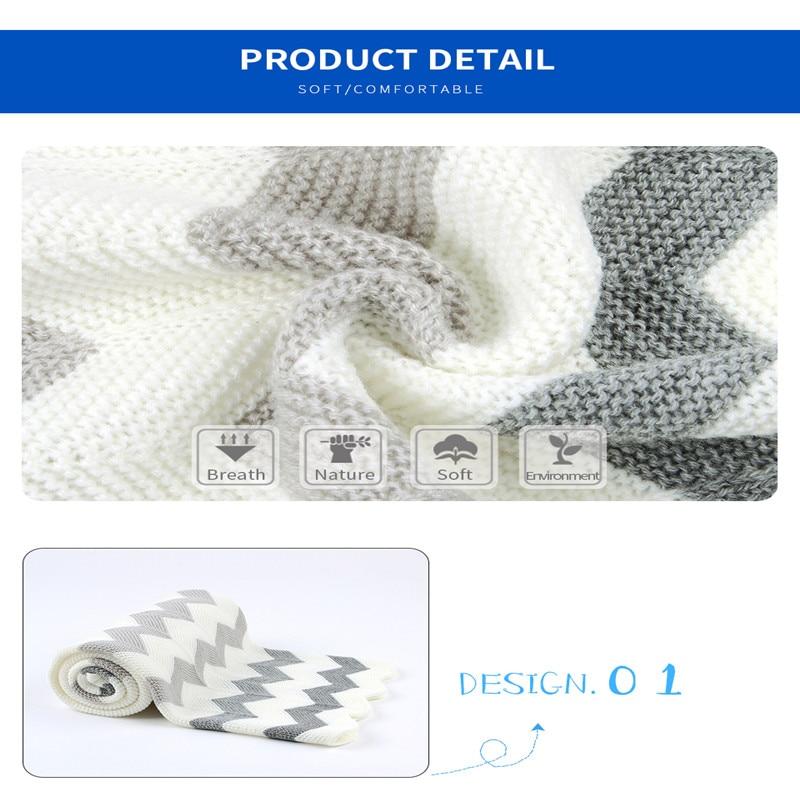 Super Soft Newborn Swaddle Wrap Blankets Stripe Knitted Infant Baby Basket Blanket Summer Air Conditioning Toddler Bedding Quilt