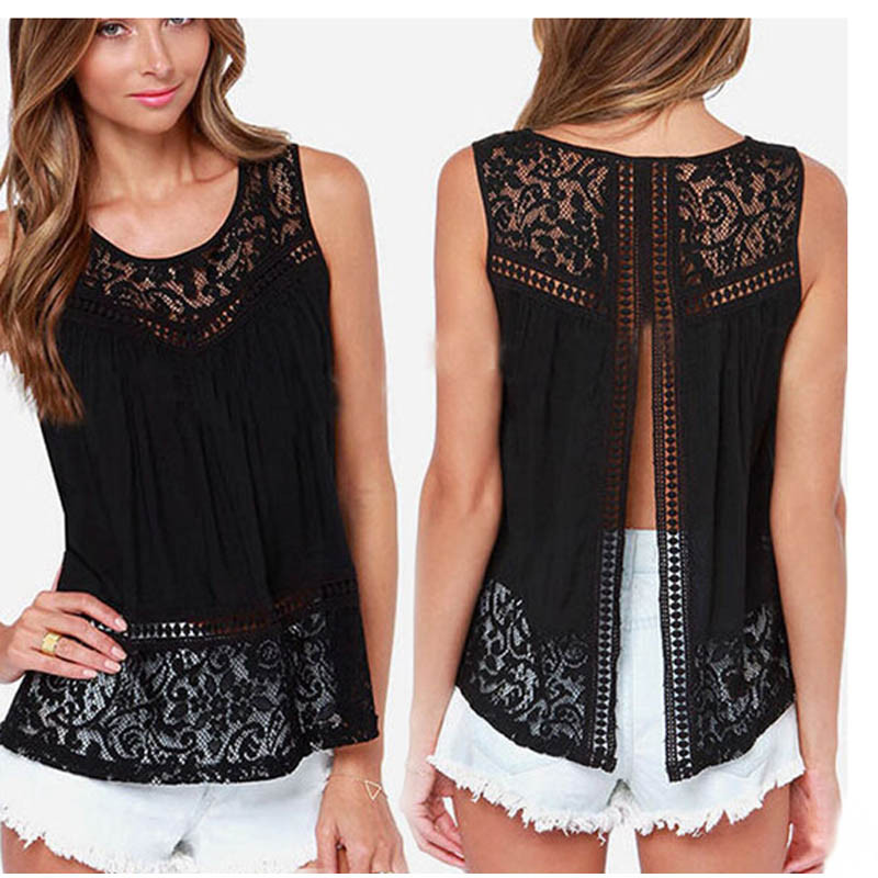 New Women Tops And Blouses 2018 Sexy Backless Sleeveless Crochet Lace Hollow Shirt Tank Tops Blusas Y Camisas Mujer