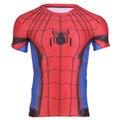 2016 homens da moda t-shirt da forma elástica tshirt camiseta spiderman super hero t-shirt de manga curta homem-aranha camiseta