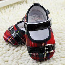Toddler Girls Non-Slip Plaid Crib Shoes Soft Soles Baby Shoe