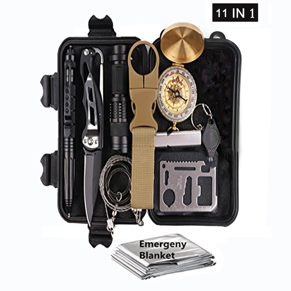 11 In 1 Survival Kit Set Outdoor Camping Travel Multifunction First Aid SOS EDC Emergency Supplies Tactical For Wilderness /Tri