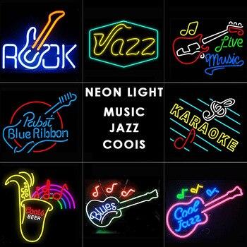 MUSIC,ROCK,JAZZ,BEER BAR Neon light ROCK neon signs design Glass Tube light for Bar home bussiness LIVE LIGHTS CLUB