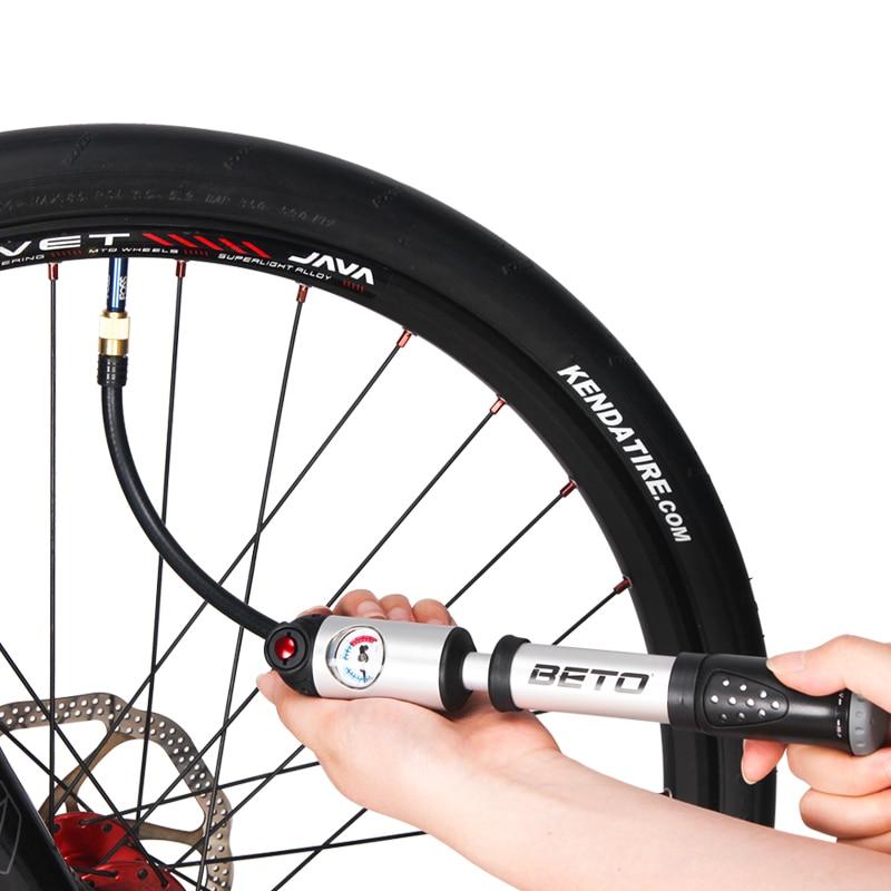 Купить с кэшбэком BETO Fork Tire Shock Bicycle Pumps 300psi Gauge Mini Hand Pump For Bicycle Schrader Presta Adapter Hose Bike Pump Air Cycle Pump