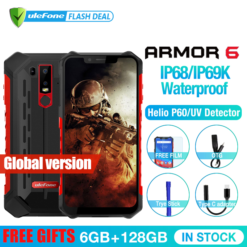 Ulefone Armor 6 Waterproof IP68 NFC Rugged Mobile Phone Helio P60 Otca core Android 8.1 6GB+128GB Smartphone Global version