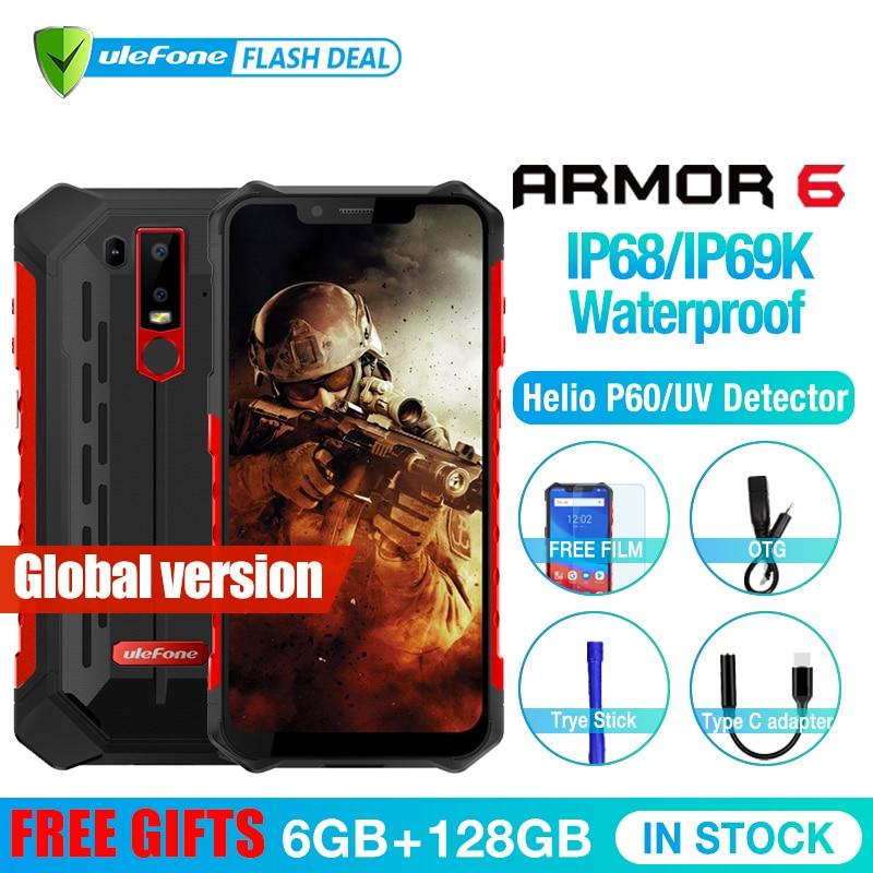Ulefone armadura 6 impermeable IP68 NFC resistente teléfono móvil Helio P60 Otca-core Android 8,1 6 GB + 128 GB Smartphone versión Global