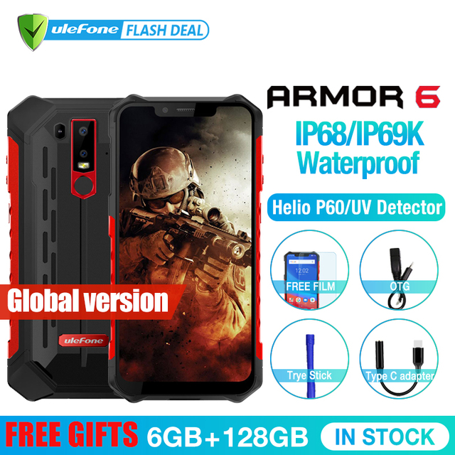 Ulefone armadura 6 impermeable IP68 NFC resistente teléfono móvil Helio P60 Otca-core Android 8,1 6 GB + 128 GB teléfono inteligente versión Global